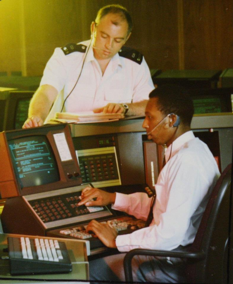 A communications officer takes a 999 call 1990